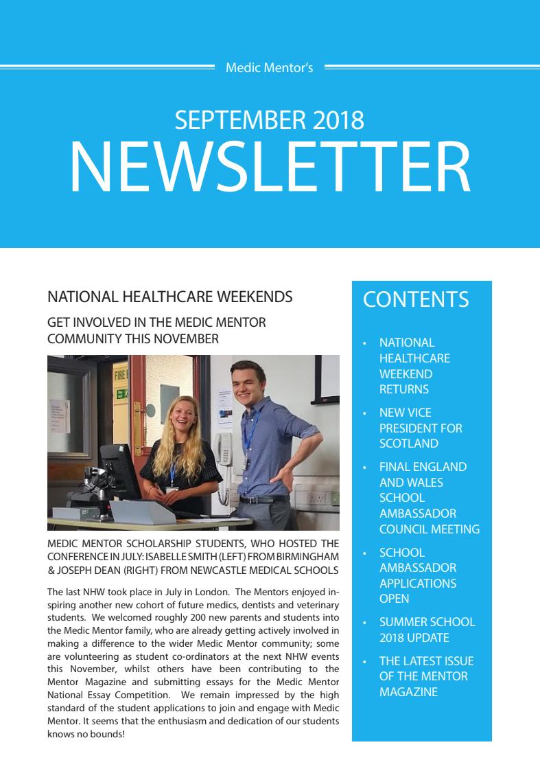 National Healthcare Weekend Medic Mentors